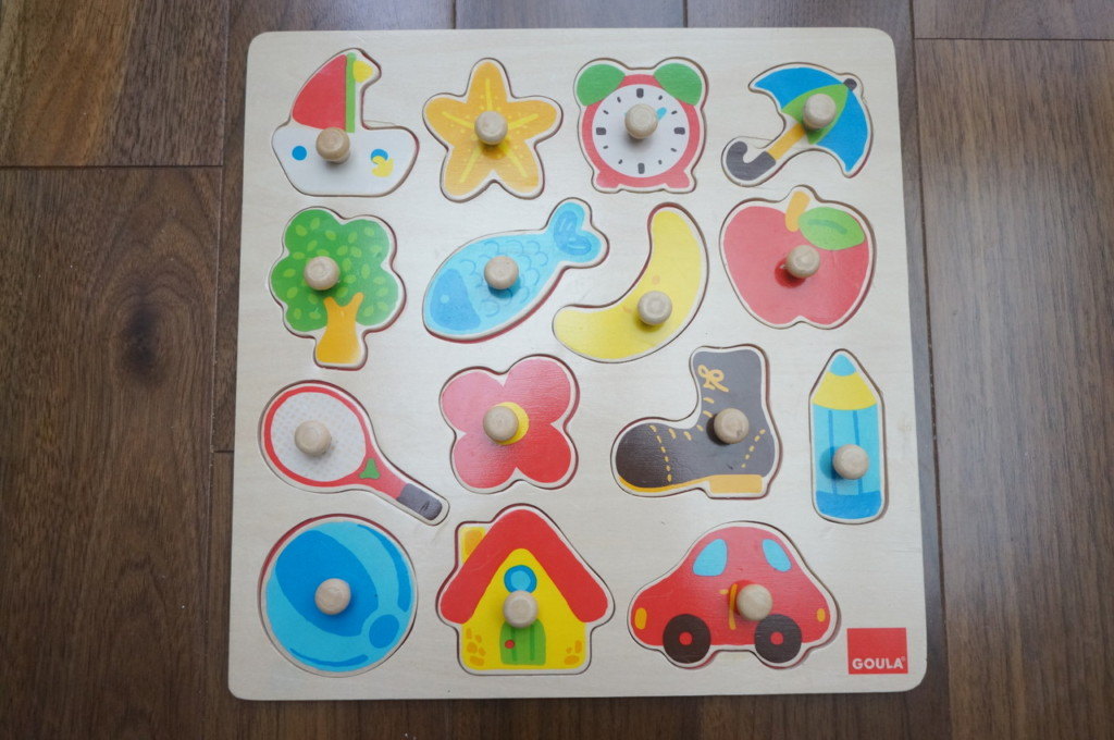 ピース数多めのピックアップパズル・バラエティ(GOULA社)。初めてのパズルにお勧めの知育玩具だよ。