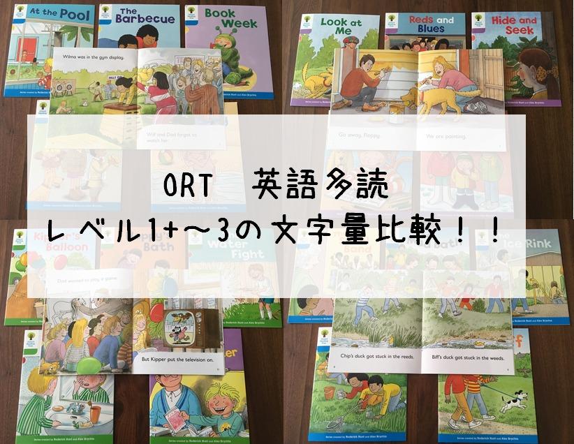 ORTのレベル1+~3を比較!じわじわ文字量が増えて、レベルUPしても負担になりにくいよ。